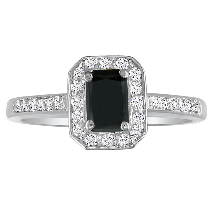 Hansa 2ct Black Diamond Emerald Engagement Ring In 18k White Gold,  Available Ring Sizes 4-9.5