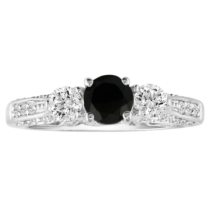 1ct Black Diamond Round Engagement Ring in 14k White Gold, Also Available in Other Diamond Weights thumbnail