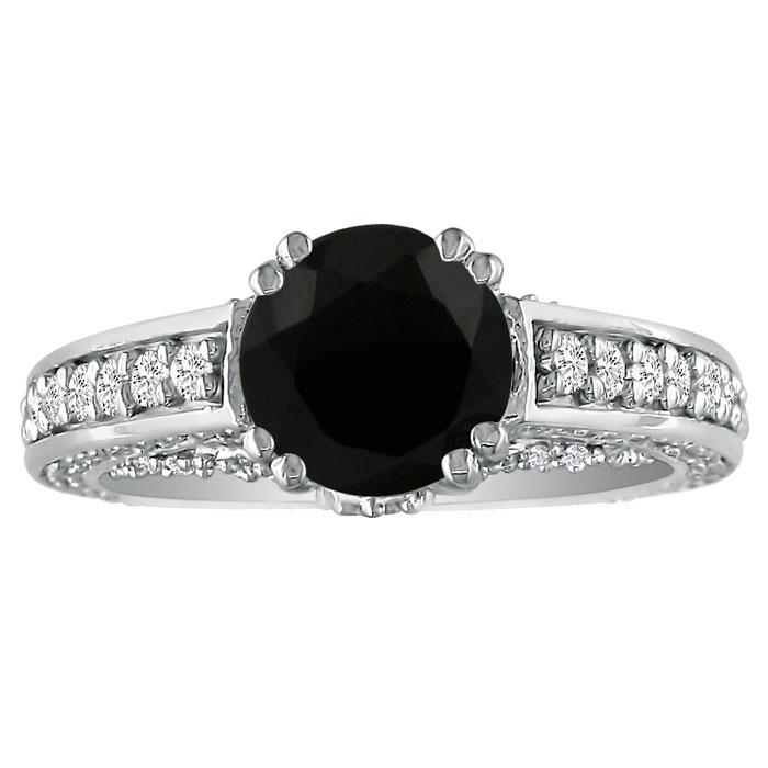 Hansa 2 2/3ct Black Diamond Round Engagement Ring in 14k White Gold, I-J, I2-I3 , Available Ring Sizes 4-9.5