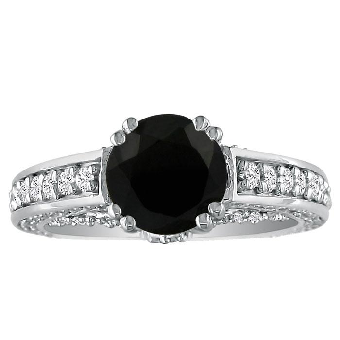 Hansa 2ct Black Diamond Round Engagement Ring in 18k White Gold, H-I, I2-I3 , Available Ring Sizes 4-9.5