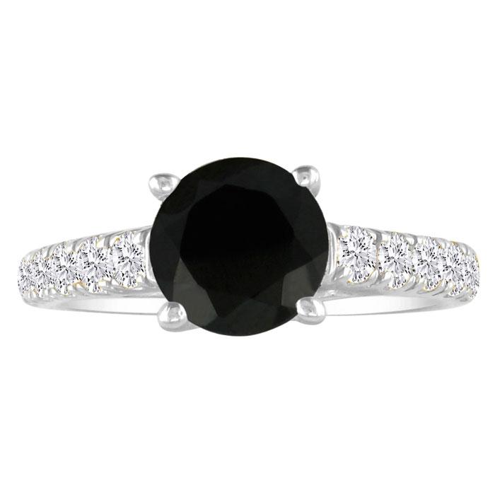 Hansa 1 1/2ct Black Diamond Round Engagement Ring in 18k White Gold, I-J, I2-I3 , Available Ring Sizes 4-9.5