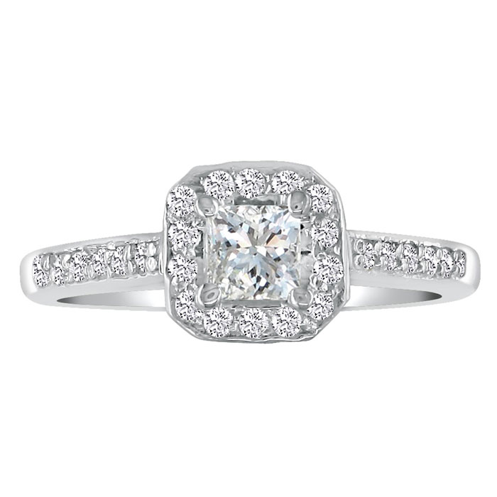 Hansa 2ct Diamond Princess Engagement Ring in 18k White Gold, H-I, SI2-I1, Available Ring Sizes 4-9.5