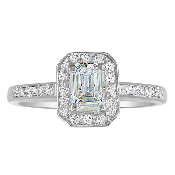 Hansa 1 1/3ct Diamond Emerald Engagement Ring In 14k White Gold, H-i, Si2-i1, Available Ring Sizes 4-9.5