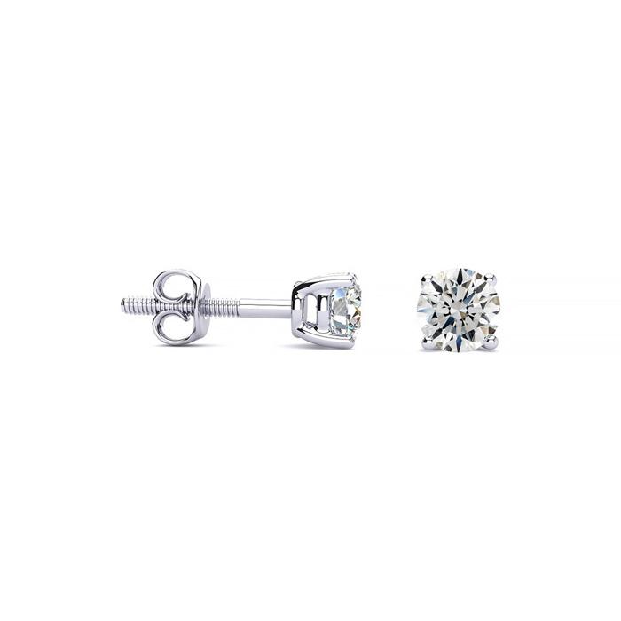 1/4ct Fine Quality Diamond Stud Earrings In Platinum