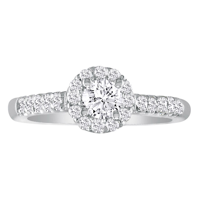 Hansa 3.28ct Diamond Round Engagement Ring in 18k White Gold, H-I, SI2-I1, Available Ring Sizes 4-9.5