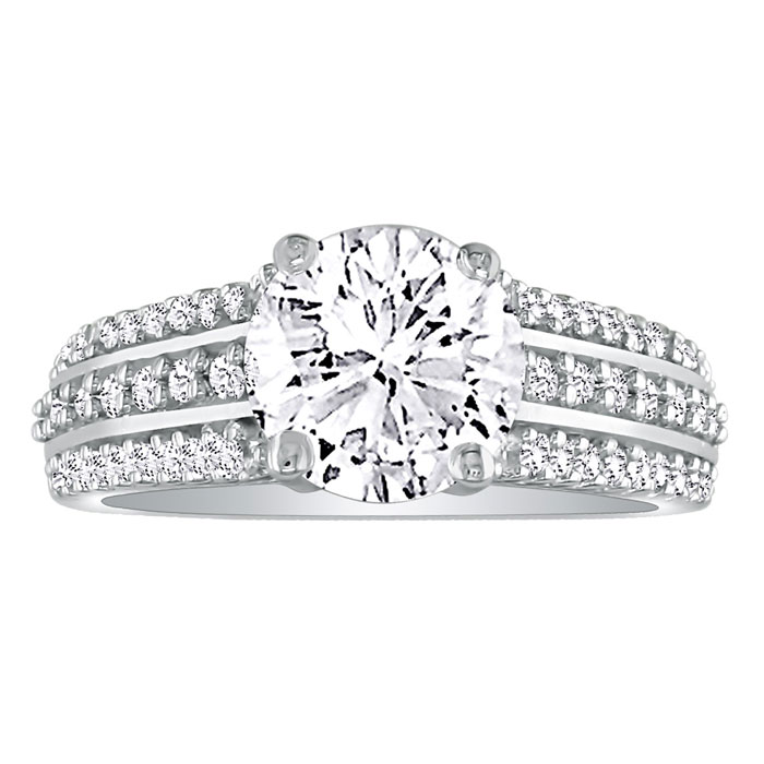 Hansa 1 1/3ct Diamond Round Engagement Ring in 14k White Gold, H-I, SI2-I1, Available Ring Sizes 4-9.5