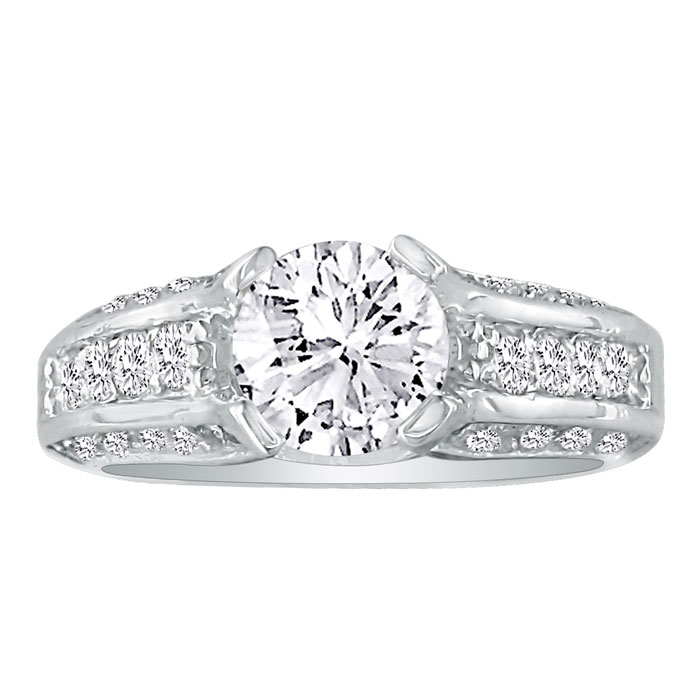 Hansa 4.20ct Diamond Round Engagement Ring in 18k White Gold, H-I, SI2-I1, Available Ring Sizes 4-9.5