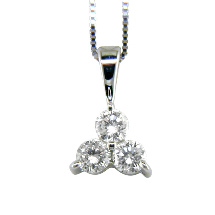 1ct Three Diamond Triangle Style Diamond Pendant In 14k White Gold