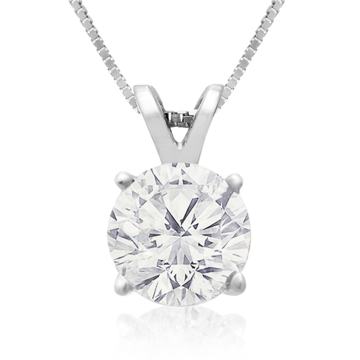 1.50ct 14k White Gold Diamond Pendant, 2 Stars