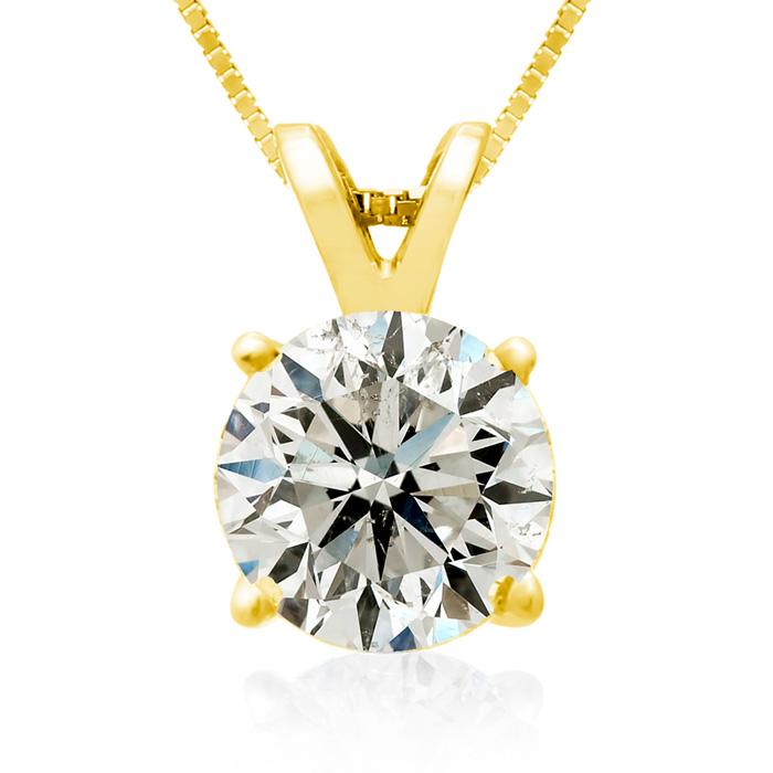2.00ct 14k Yellow Gold Diamond Pendant, 2 Stars
