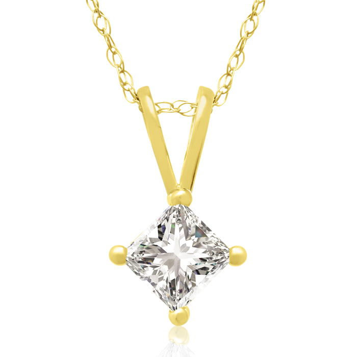 1/3ct 14k Yellow Gold Princess Diamond Pendant