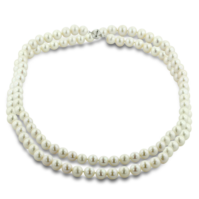 30 Inch 10mm AAA Hand knotted Pearl Necklace, 14k White Gold Clasp