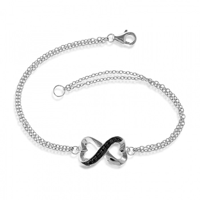 Half Heart Double Strand Black Cubic Zirconia Infinity Bracelet In Sterling Silver, 7 Inches