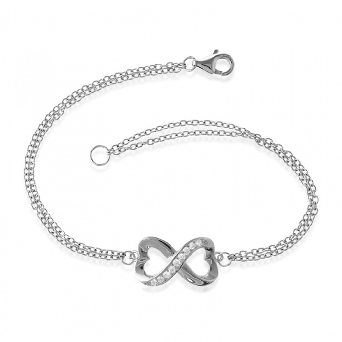 Half Heart Double Strand Cubic Zirconia Infinity Bracelet In Sterling Silver, 7 Inches