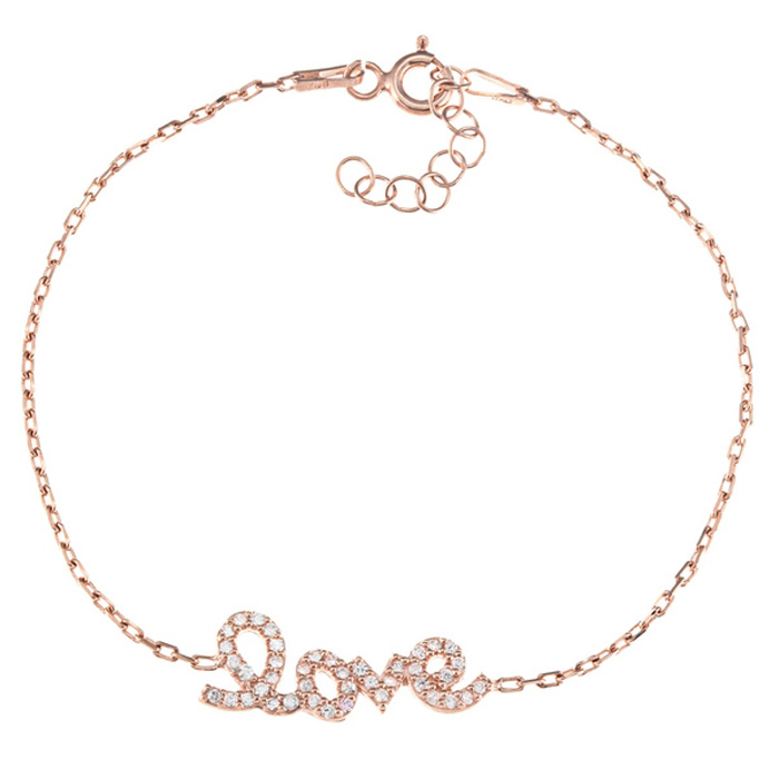 Delicate Love Rose Gold-Plated Cubic Zirconia Bracelet In Sterling Silver, 6 inches