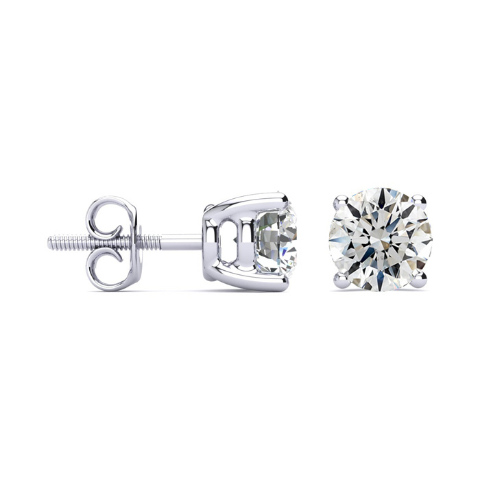 Our Finest 2ct Round Diamond Stud Earrings In Platinum. G/H, SI, close to ideal cut.