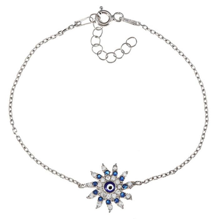 Sun-shaped Evil Eye Cubic Zirconia Bracelet In Sterling Silver, 6 Inches