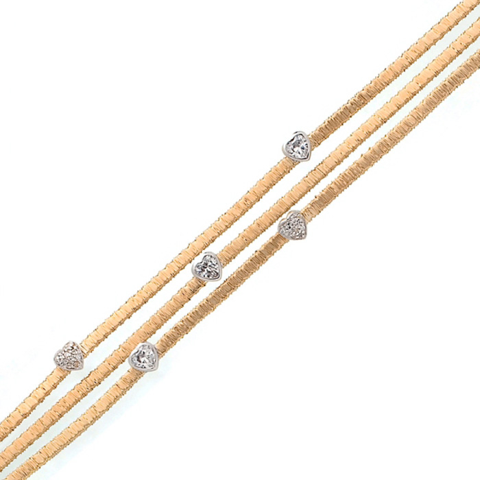 Triple Strand Gold-overlay Heart Cubic Zirconia Bracelet In Sterling Silver, 7 Inches