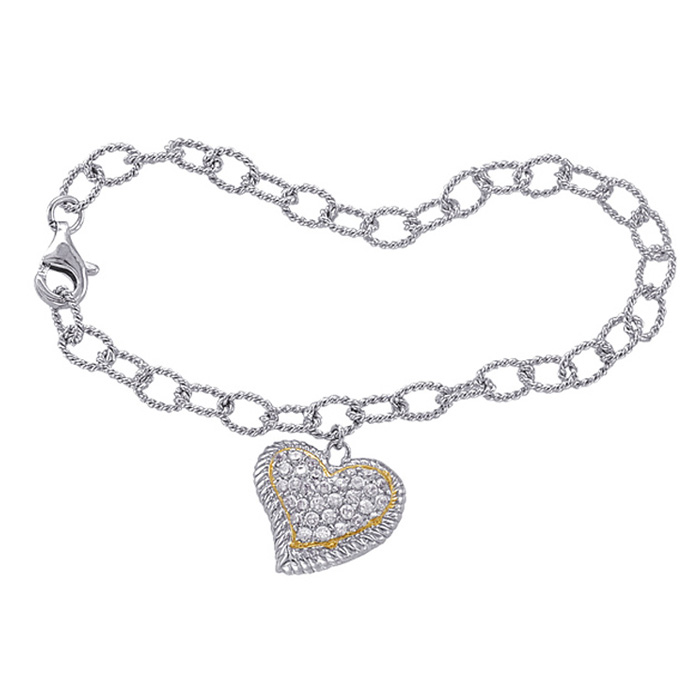 Two-tone Cubic Zirconia Curved Heart Charm Bracelet In Sterling Silver, 7 Inches