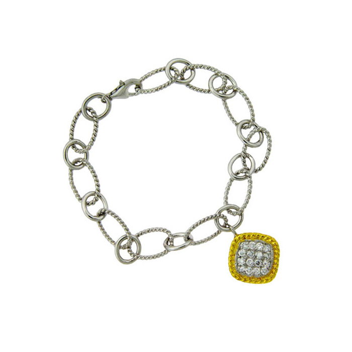 Two-tone Cubic Zirconia Square Charm Bracelet In Sterling Silver, 7 Inches