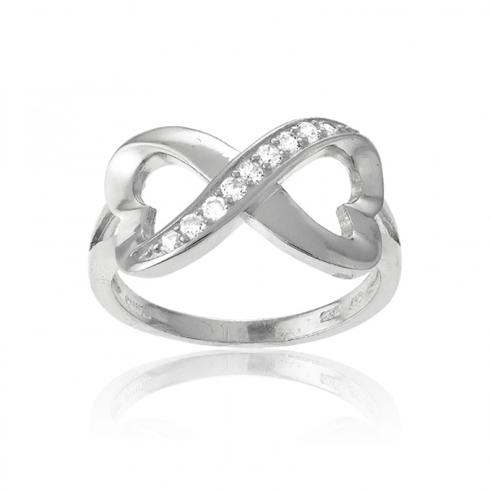 Sterling Silver Infinity Heart CZ Ring, Sizes 5-10