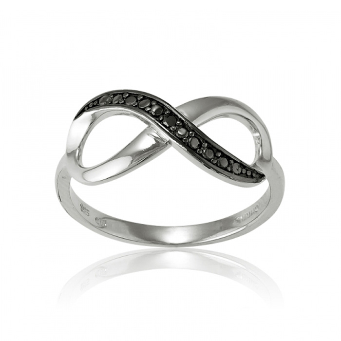 Sterling Silver Infinity Ring with Black CZ Accents, Sizes 5-10