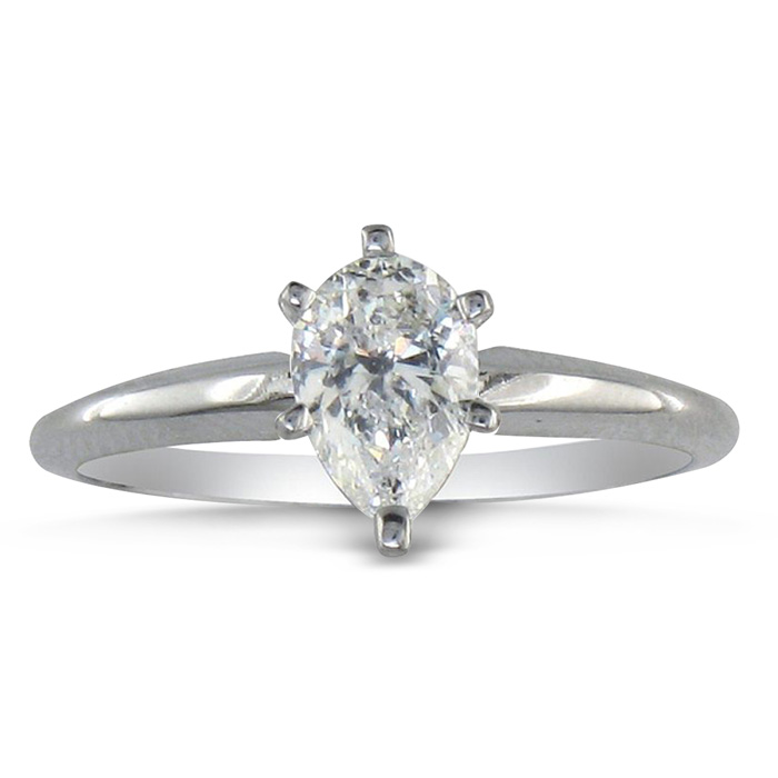 1/2ct Pear Shaped Diamond Solitaire Ring in 14k White Gold