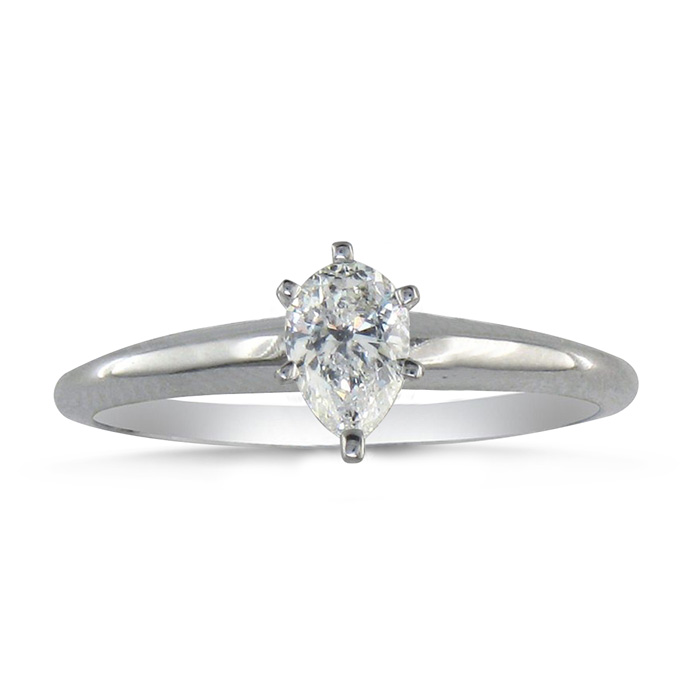 1/3ct Pear Shaped Diamond Solitaire Ring in 14k White Gold