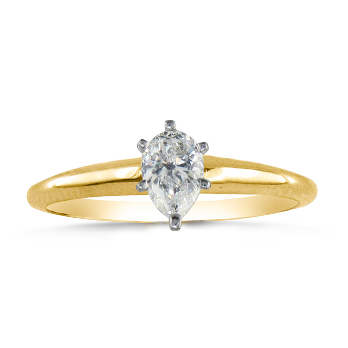 1/3ct Pear Shaped Diamond Solitaire Ring in 14k Yellow Gold