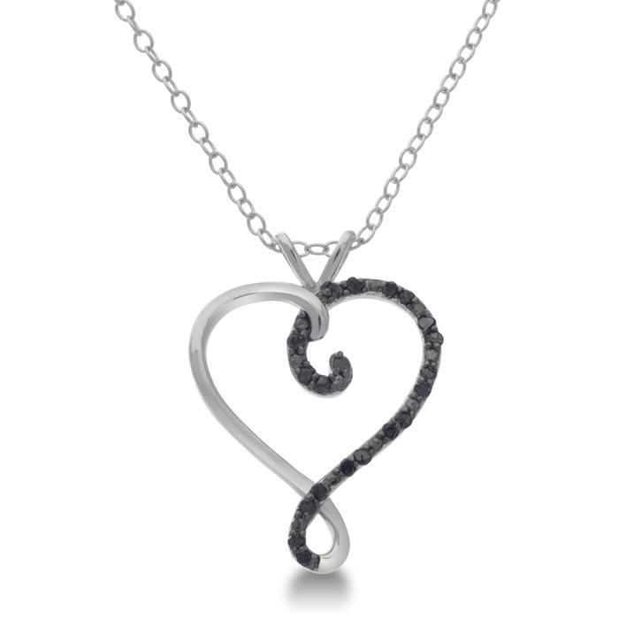 Black Diamond Sterling Silver Swirl Heart Pendant, 18 Inches