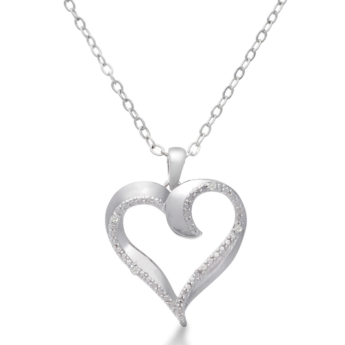 Puffed Heart Diamond Necklace