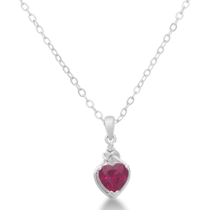 1ct Created Ruby and Diamond Platinum Plated Heart Pendant, 18 Inches