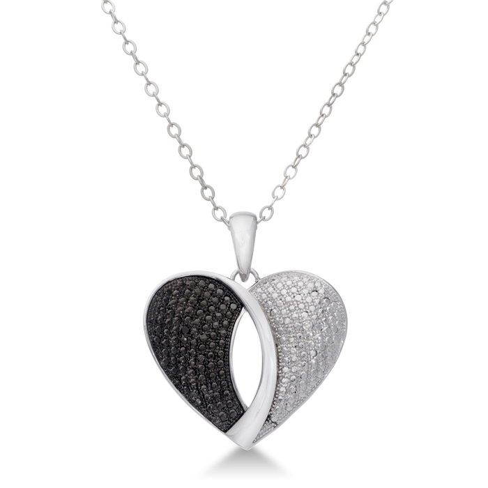Modern Black and White Diamond Heart Pendant 18 Inches