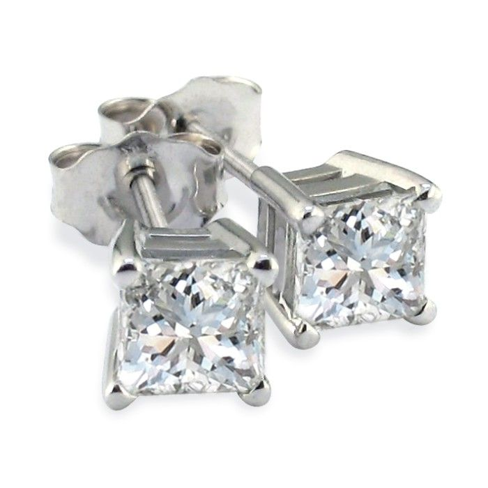 3/4ct G/H SI Quality Princess Diamond Stud Earrings In Platinum