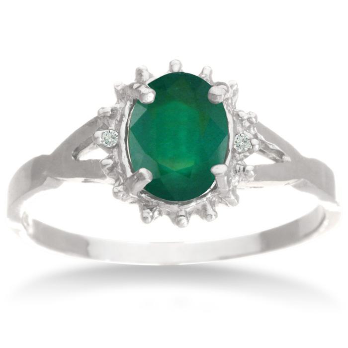 3/4ct Emerald and Diamond Starburst Ring
