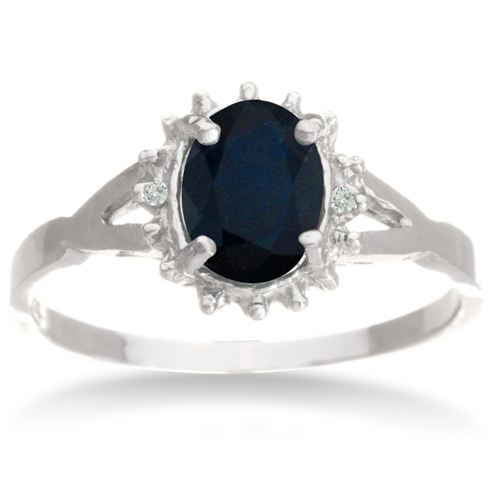 3/4ct Sapphire and Diamond Starburst Ring in Sterling Silver