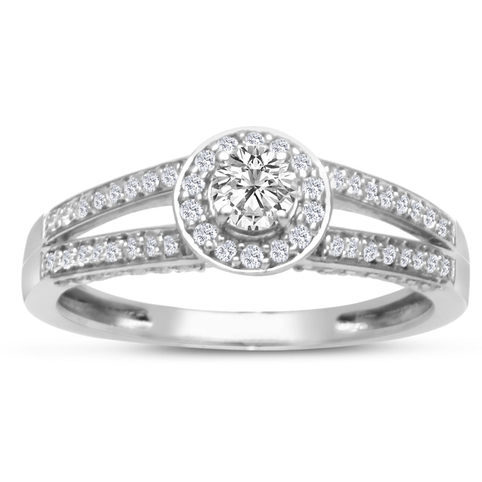 Finely Crafted Split Band 1/2ct Diamond Engagement Ring, White Gold