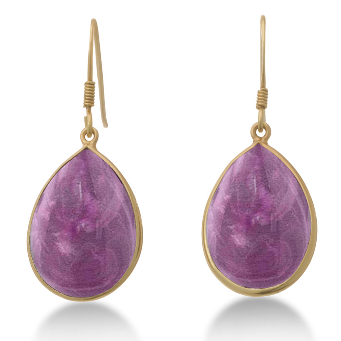 Black Friday Jewelry - 15ct Amethyst Teardrop Earrings In 18K Gold Over Sterling Silver