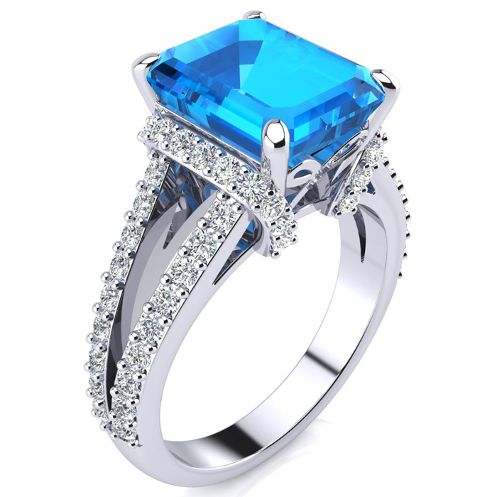 8 3 4ct emerald cut blue topaz and ring crafted in