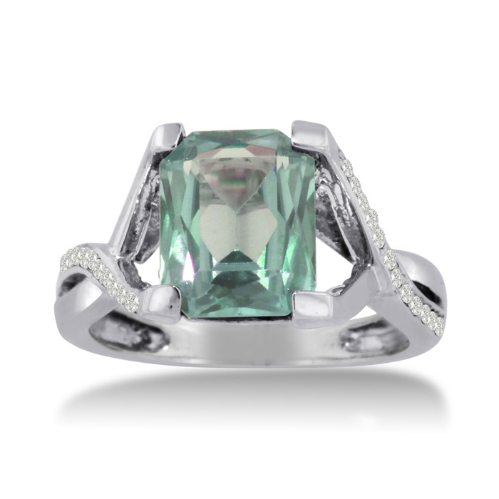 3 1/4ct Emerald Cut Green Amethyst And Diamond Ring Crafted In Solid 14k White Gold