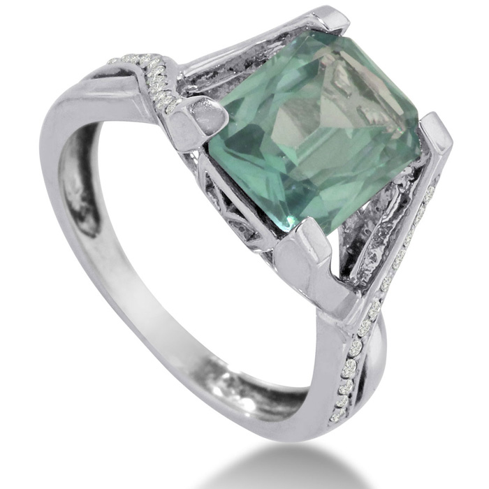 3 1 4ct emerald cut green amethyst and ring