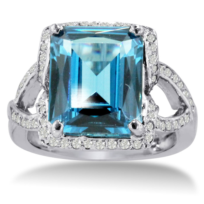 6 1/4ct Emerald Cut Blue Topaz And Diamond Ring Crafted In Solid 14k White Gold