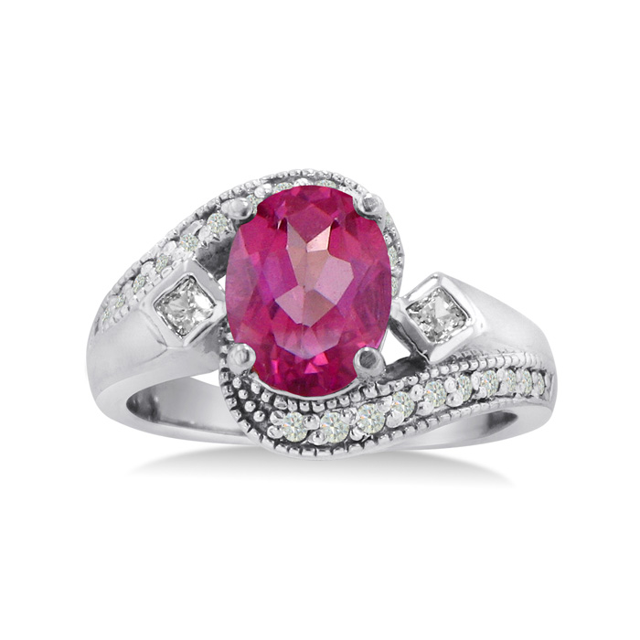 2 3/4ct Oval Pink Topaz and Diamond Ring Crafted In Solid 14K White Gold