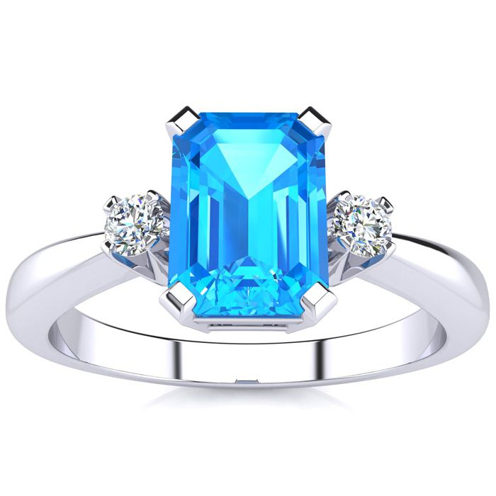 1ct emerald cut blue topaz and ring crafted in