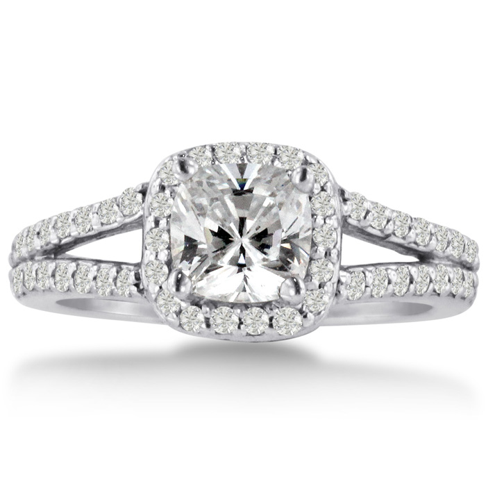 1ct Cushion Cut Diamond Halo Engagement Ring Crafted In Solid 14K White Gold ShopFest Money Saver