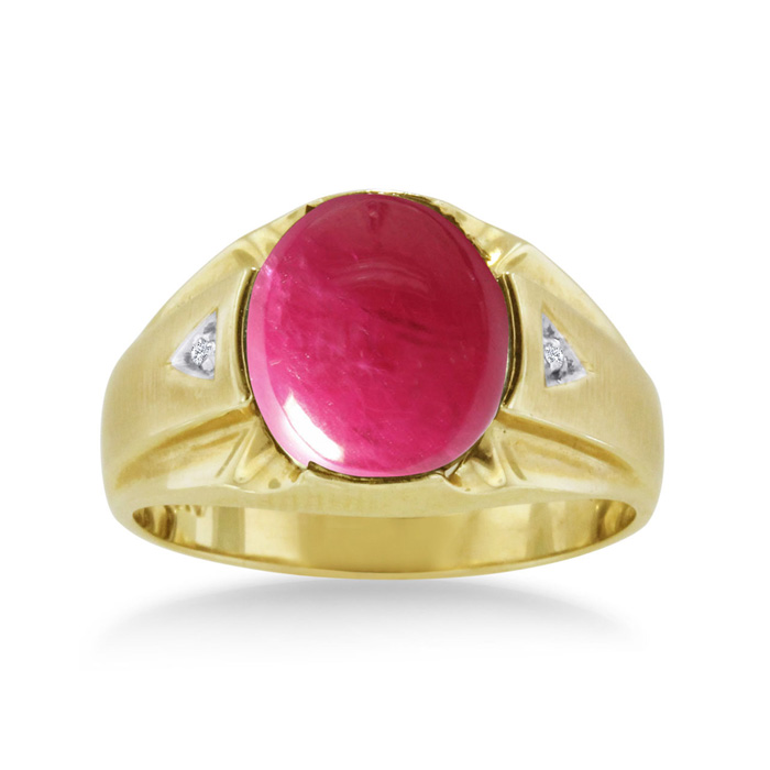 4 1/2ct Oval Cabochon Created Ruby And Diamond Men's Ring Crafted In Solid 14k Yellow Gold