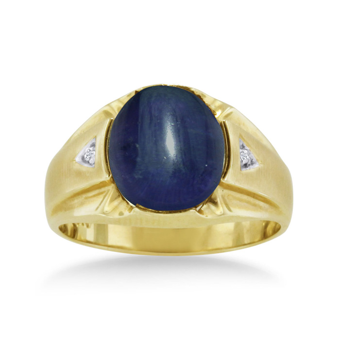 4 1/2ct Oval Cabochon Created Sapphire And Diamond Men's Ring Crafted In Solid 14k Yellow Gold
