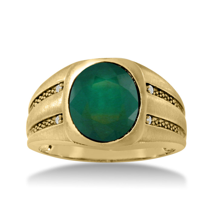 4 1/2ct Oval Created Emerald And Diamond Men's Ring Crafted In Solid Yellow Gold
