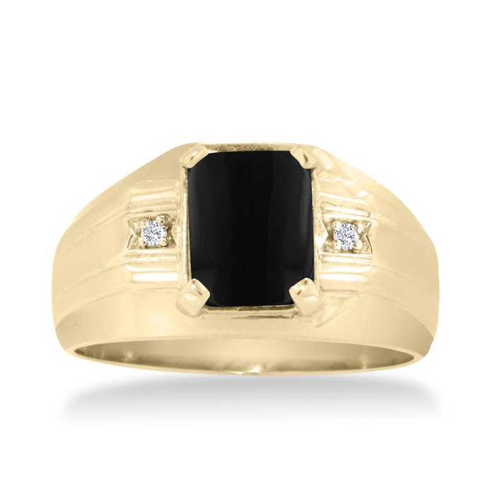 Emerald Cut Black Onyx And Diamond Men S Ring Crafted In