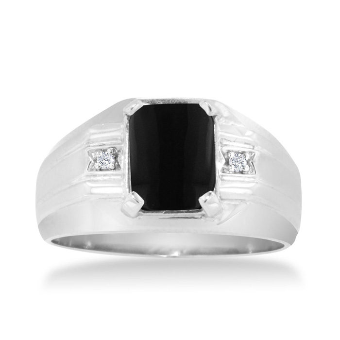 emerald cut black onyx and s ring crafted in